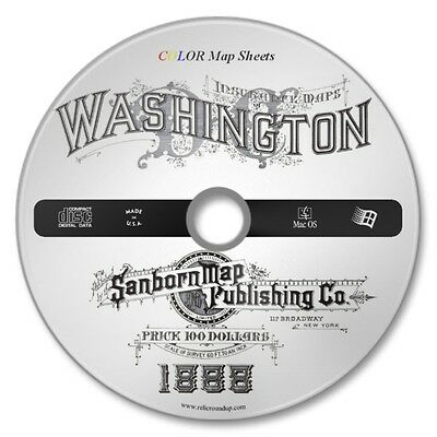 Washington, DC 41 Double Page Color Sanborn Map Sheets on New CD Year 1896