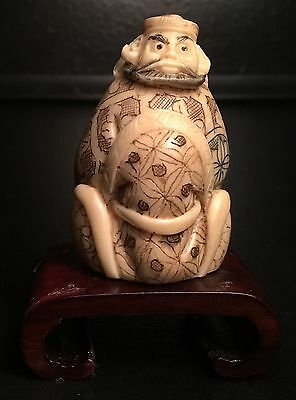 Authentic, Signed Late 18Th-19Th Cent(Meiji?)Netsuke Samari Warrior Figure