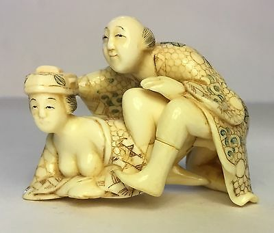 Authentic, Signed Late 18Th-19Th Cent(Meiji?)Netsuke Couple-2 Figs Signed