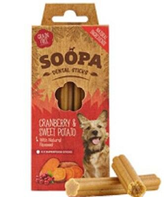 Soopa Cranberry & Sweet Potato Dental Sticks hypoallergenic grain free 100g x 10