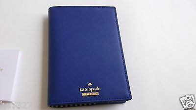 Kate Spade Cameron Street Nightlife Blue Leather Passport Card Holder Wallet NWT