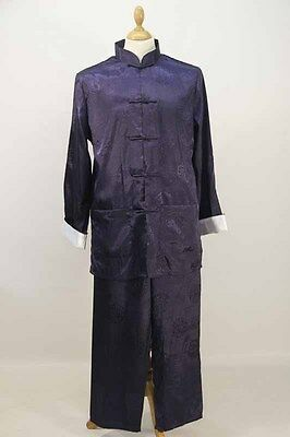 Navy Blue Silk Chinese Top & Trousers