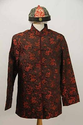 Red & Black Brocade Chinese Jacket & Hat