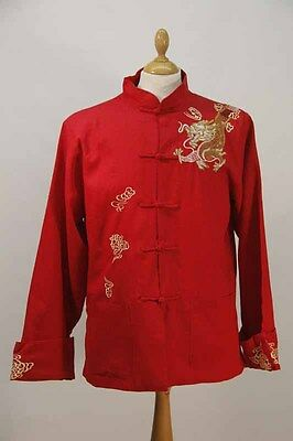 Red Embroidered Linen Chinese Jacket