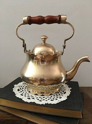 Vintage SMALL Brass Tea Kettle/Pot with Lid & Wood Handle~Scalloped Edges~Lined