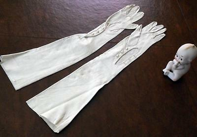 "Antique/Vtg Kid Skin Leather Xtra Long White Opera Gloves Pearl Button 21"" 6 1/2"