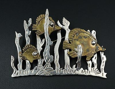 "Large 3"" Taxco Sterling Silver Brass Mixed Metal Fish Brooch Pin TP-24 OS348"