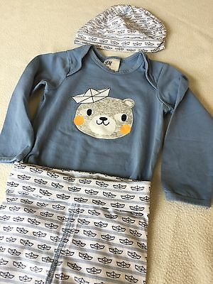 H&M Baby 3 Piece Outfit Paper Hat Bear 9-12M