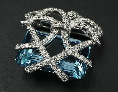 Verdura Inspired Platinum Diamond 46ct Sky Blue Aquamarine Brooch GIA Cert CO077