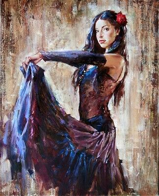 Hand-Painted Portrait Oil Painting on Canvas/Pretty skirt dance girl 24x36 inch