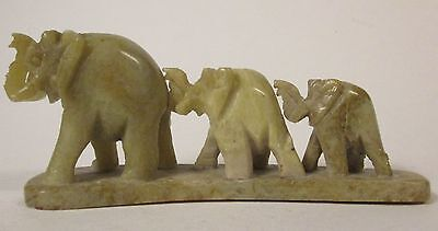 Hand Carved Soap Stone  Trio of Elephants - Miniature Hand Carving - Collectible