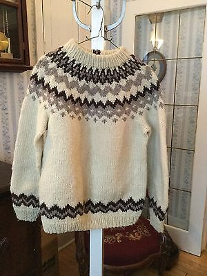 Classic vintage hand knit cowichan siwash sweater (A084)