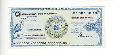Specimen Australia Travelers Check  Commonwath Bank 200 Nz$      Mint