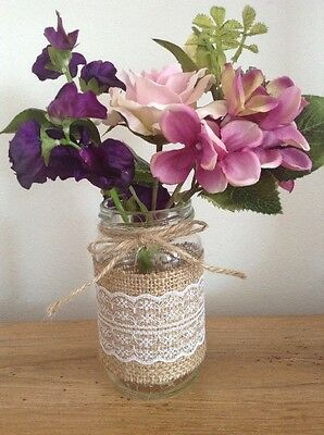 Rustic, Vintage Table Decorations Wedding Centre Piece Shabby Chic Jars