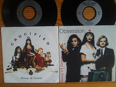"7"" ARMY OF LOVERS : OBSESSION + CRUCIFIED  2 x POP HITS LOT 80th"