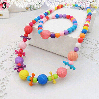 Baby Girl Colorful Bead Necklace Bracelet Set Strawberry Flower Jewelry Healthy