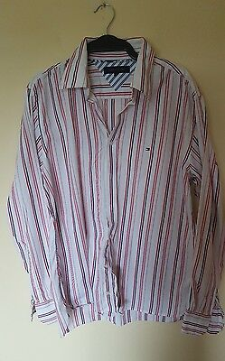 Mens Tommy Hilfiger red and blue stripe shirt size Large