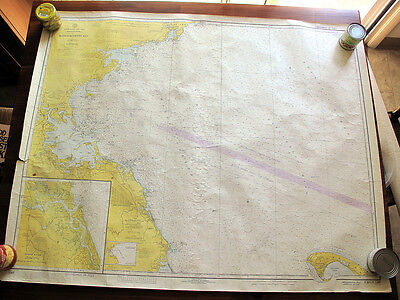 Bundle of 10 C&GS Nautical Charts of New England Waters Most 36x45 Inches