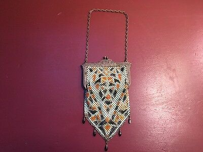 Mandalian Mesh Enamel Purse Vtg Antique Art Deco Hand Bag Stunning Amazing