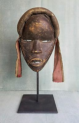 Antique Dan Tribe Mask With Woven Fabric Crown Surround And Hanging Cloth