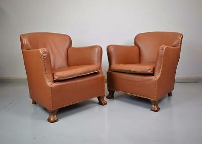 (1 of 2) French Art Deco Mid Century Vintage Tan Brown Leather Lounge Club Chair