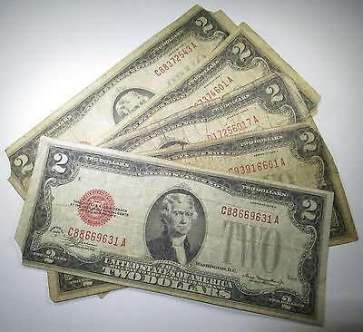 Lot of 5 1928 U.S. $2 Two Dollar Bill Notes Antique US Currency Collection Money