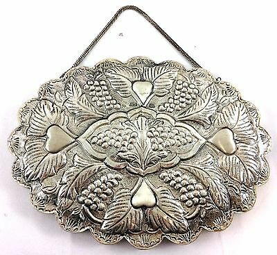Vintage Turkish Ottoman 900 coin silver handcrafted repousse wedding mirror