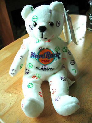 Hard Rock Cafe 2005 Toronto Canada White Peace Bear -  with Tags