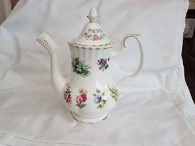 1st Quality Royal Albert Flowers of the Month Large Coffee Pot - Made in England