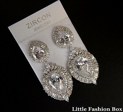 Superior Cut Cubic Zirconia Cluster Two Section Wedding Prom Party Earring UK