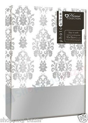 Stylish Silver Leaf Design Photo Album Slip-In with Memo Writing Holds 200 Photo