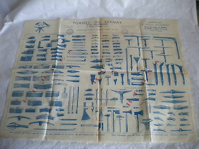 vintage catalogue wall poster 1920s Forges du Bernay hammer makers forge tools