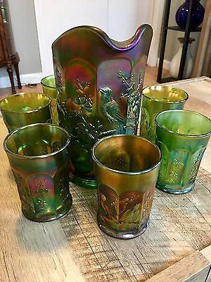 Northwood Green Carnival Singing Birds Pitcher & 6 Tumblers Stunning