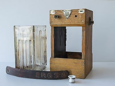Antique glass battery ERGS with wood case