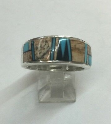 Native American Navajo Sterling Silver Turquoise Jasper Onyx Ring Size 10.5
