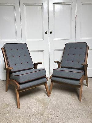Pair Of Mid Century Armchairs Newly Upholstered