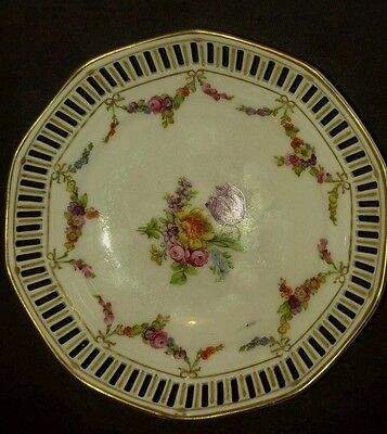 German Dresden Porcelain Reticulated Small Bowl Dish Schumann Bavaria Floral