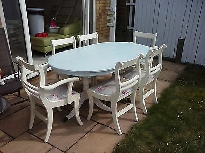 Dining room table and 6 chairs, shabby chic!
