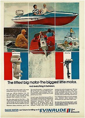 1972 EVINRUDE Starflite 125 HP, Mate 2 HP Outboard Boat Motor VTG PRINT AD