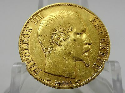 1854A France gold 20 francs coin, KM#781.1, Second Empire, Napoleon III