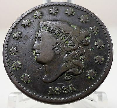 1831 large letters matron coronet head Liberty United States large cent, #64941