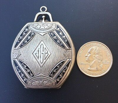 Vintage Elgin AM MFG Co 31g Compact Sterling Silver Mirror Pendant #1126462