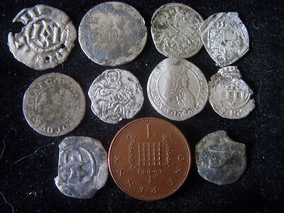 unidentified medieval hammered silver coins