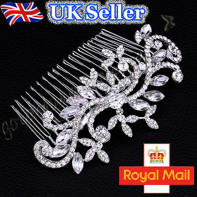Bridal Wedding Hair Comb Silver Crystal Sparkle Vintage Diamante Headband Prom