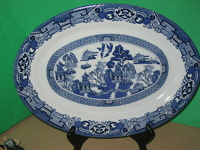 "Beautiful Royal Cuthbertson Blue Willow Platter 13 3/4"" Long-Excellent Condition"
