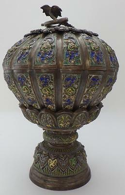 Antique 3pc Chinese Cambodian SOLID Silver Embossed Enamel Lid Bowl & Pedestal