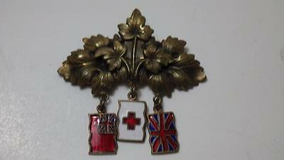 Vintage Unknown Badge w/Enamel Red Ensign, Red Cross & Union Jack Charms A/F