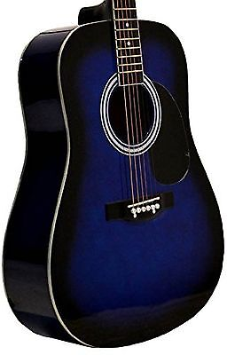 """41"""" Inch Full Size Blue Handcrafted Steel String Dreadnought Acoustic Guitar ..."""