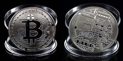 MONEDA 1 BITCOIN FISICA 40mm 29gr COLECCIONABLE CASASCIUS COLOR PLATA SILVER UNC