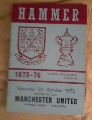 Manchester united v West ham utd 1975/76 very good condition division 1 away